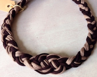 3 in 1 hand made fabric headband/necklace 3 in 1 cotton handmade ibiza necklace/headband zpagetti Brown taupe