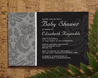 Black White Damask Baby Shower Invitation Template, Girl Baby Shower Invitations, Boy Baby Shower Invites, Printable, Digital PDF, DIY