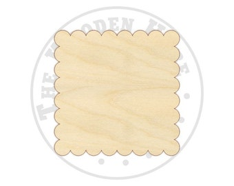 Scalloped Square Cutout Shapes - 170230 -Unfinished wood, Various sizes, Wood Craft Shapes