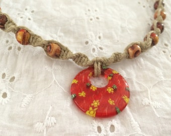 Red Flowered Glass Charm beaded Hemp Necklace