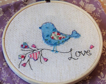 SALE! Love Bird Cross Stitch 5""