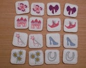 Matching game - Princess themed for preschool kids - Felt and embroidered - sturdy - similar to Memory game - Concentration