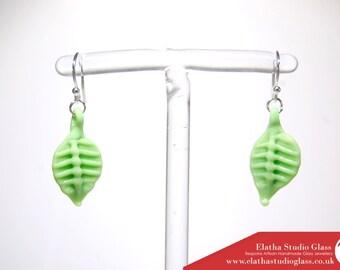 Grass Green Opaque Leaves earrings Sterling Silver GLASS Handmade
