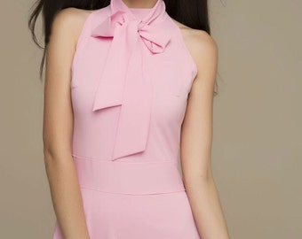Pink Chiffon Sleeveless Dress.Summer Dress Party.Floor length Dress with Bow.