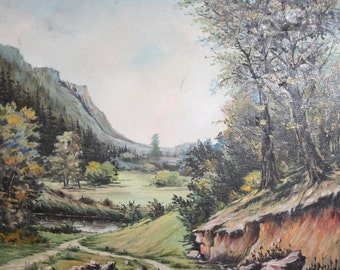 Bulgarian oil painting vintage landscape
