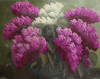 Vintage still life lilac floral oil painting