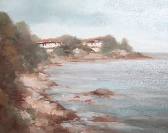 Contemporary Bulgarian art oil painting seascape rocks signed
