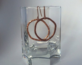 Hammered Copper Hoops