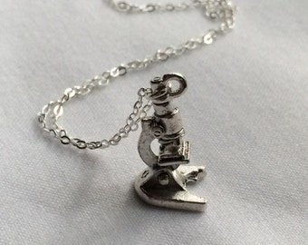 Silver Science Lab Microscope Necklace