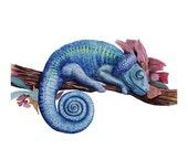Sleeping Beauty, Giclee print 8x10, Fantasy Art, Lizzard, Watercolour, Illustration, Wildlife Painting, Gift, Nursery Decor, Children Art