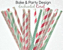 Coral Paper Straws-  Baby Shower Party Straws- Polka Dot, Chevron and Damask Straws 24 Piece-Meadows Calming Breeze