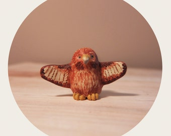 Hawk Spirit Animal Clay Totem / Miniature Handmade Animal Figurine