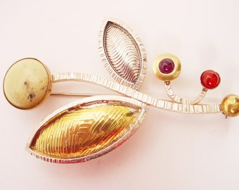 """Flower Pin in Sterling Silver and Brass with Green Leopard Stone, Amethyst, and Carnelian """"Spring"""""""