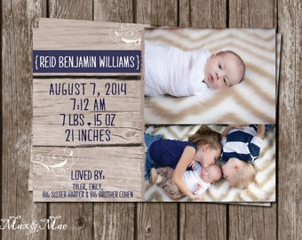 Rustic Wood Baby Announcement, Baby Announcement, New Baby Card, Baby Stats Card, Digital File