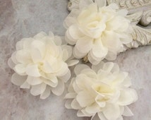 Petite Ivory chiffon flower, chiffon flower, flower puff, material flower, headband flower, DIY supplies, fabric flower,