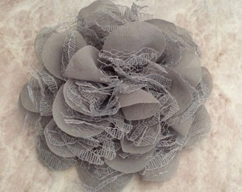 Chiffon and lace flower, large flower, grey flower, lace flower, flower puff, flower supplies, DIY supplies, gray flowers, gray