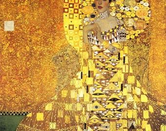 handpainted with pure golden powder Gustav Klimt oil painting reproduction Gustav klimt  Portrait of Adele Bloch-Bauer I for home decor gift
