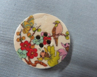 Wood 4 Hole Nature Button 2590-B14320 Sewing buttons Wood buttons 4