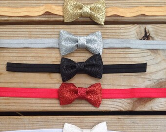 Glitter Bow Headband or Clip