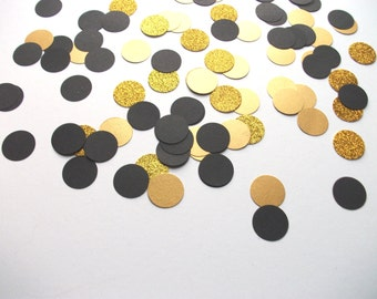 Black and gold glitter large circle confetti - hand made confetti! Table decoration, wedding & party!