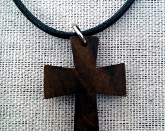 Car rear view mirror cross - crucifix charm - made from wood - teak color - fits any car