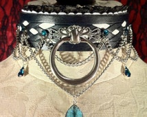 """Leather locking collar- """"Couture Courtier"""" Black and white lattice design with Swarovski gems of your choice!"""
