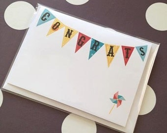 Colourful Bunting Congratulations Card