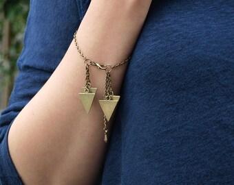 Gold Geometric Triangle Bracelet, Modern Triangle Jewelry, Charm Bracelet, Tribal