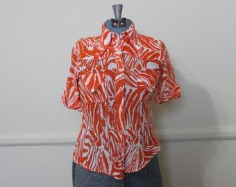 Vintage 1970s Blouse // 70s Orange Zebra Button Down Top