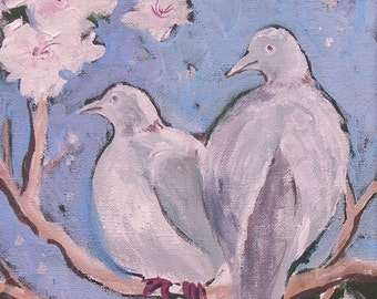 Doves in the Apricot Tree 2, Mourning Doves, Original Acrylic Painting on Canvas by Karlene Voepel, Dove Bird Painting
