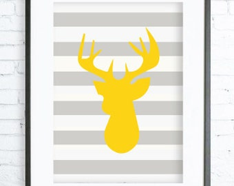 Instant Download Printable, Yellow Deer Head, Modern Art, Deer Print Art, Christmas Printable Art