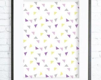Yellow and Purple Triangles Pattern, Modern Art Prints, Home Decor, Bedroom Art, Dining Room Art, Purple Wall Art