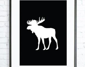 Black Moose print Art, Instant Download Printable, Christmas printable art, Print Art, Moose Wall Decor, Moose Art Print