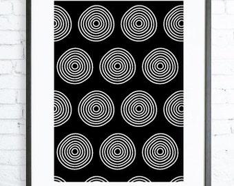 White Circles Art, Instant Download Printable, Abstract Print Art, Abstract Art Print, White art, modern art, black & white