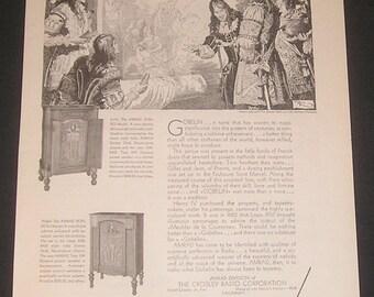 1930 Crosley Amrad Radios Vintage Magazine Print Ad Art Illustration Gobelin Tapestry Paris France John Richard Flanagan Artist