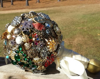 Handmade Vintage Style Brooch, Bauble and Button Bouquet