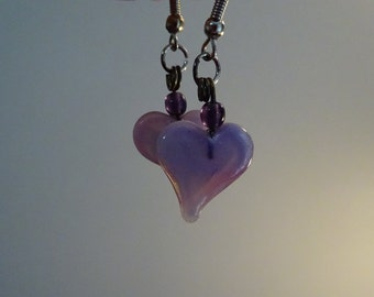 Pastel Pink Glass Heart Earrings (E5)