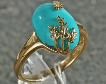 14K Yellow Gold Genuine Chinese Turquoise Cabochon Ring, Oval, Artisan, Creative Vine Leaf Design Size 7