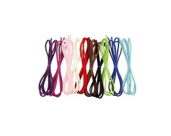 Faux Suede Leather Micro Fiber Cord Thread Assorted Colors; Bracelet Beading Braiding String 3mm - 3.3 Feet X 10 Colors