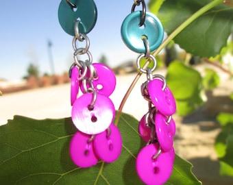 Jewel-Toned Button Dangle Earrings