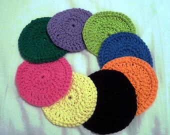 Crochet Round Coasters, Set of 8
