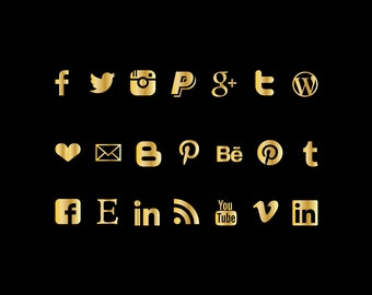 Social media Icons, instant download buttons, gold foil