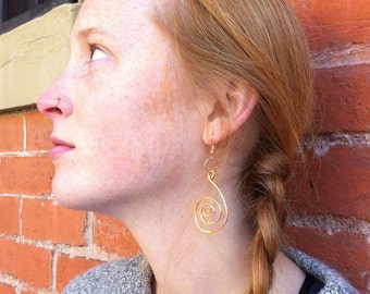 Hammered Spiral Dangle Earrings