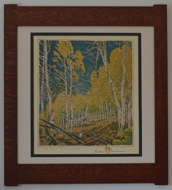 Aspen thicket mission style framed art in quartersawn oak for Mission style prints