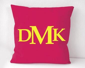 Fuchsia monogram pillow Cover, dark pink monogram pillow case, personalized cushion cover, Wall Decorative pillow, Throw pillow