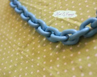 Blue plastic chain necklace