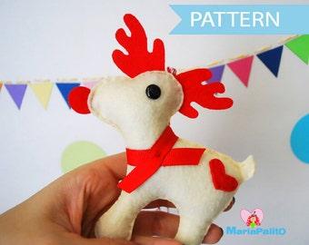 Reindeer Pattern, Felt Reindeer, Ornament,Sewing Pattern - Pdf Pattern , Christmas Ornament Pattern, Instant Download A1095