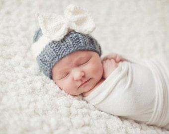 Sabrina Bow Newborn Knit Baby Hat