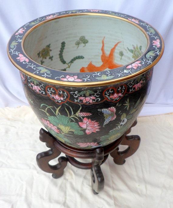 Exceptional Large Ceramic Fish Bowl Planter Koi Pot