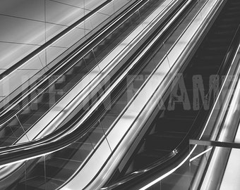 Escalator,Architecture,Photography,Black and White, Lines